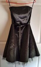 JESSICA MCCLINTOCK 4 GUNNE SAX STRAPLESS BLACK & WHITE DRESS/POLKA DOT SZ 9/10