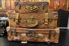 Original Vintage Set of 3 Leather Suitcase Luggage Travel Bag Photo Props