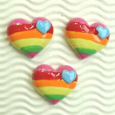 "US SELLER - 10 pcs x (1 1/8"") Resin Rainbow Heart Flatback Embellishments SB628"