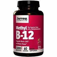 JARROW METHYL VITAMIN B12 - 5000mcg x 60 LOZENGES - CHERRY - SUPERIOR B-12 FORM