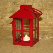 Small Red Metal Lantern w/ Battery Operated Tea Light Candle