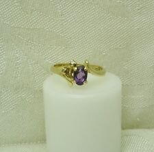 14K YELLOW GOLD AMETHYST / DIAMOND RING SIZE 5 1/4 FEBRUARY BIRTHSTONE N106-P