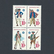 Revolutionary War Soldiers & Sailor Uniforms Mint Set of 4 Stamps 41 Years Old!