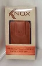 KNOX LEATHER CELL PHONE CARRIER HOLSTER POUCH SWIRL BELT CLIP iPHONE 5/5S/C BEIG