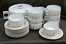 SERVICE CAFE OU CHOCOLAT HAVILAND LIMOGES EN PORCELAINE DECOR MODERNISTE 11 PIEC