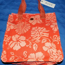 ROXY Rocksteady Tote/Bag 100% Linen Orange Floral Printed $14.50 NWT Free/Ship