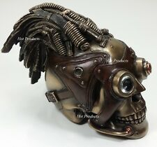 "8"" STEAMPUNK INDUSTRIAL AGE Human Skull Statue Wire & Leather Finish Hair Decor"