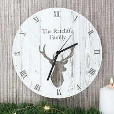 Personalised Highland Stag Shabby Chic Wooden Clock, Anniversary, New Home