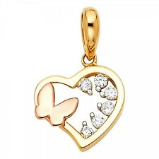 14K Two Tone Gold CZ Heart with  Butterfly Pendant GJPT1793