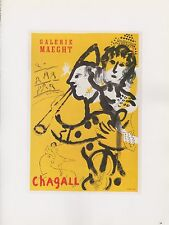 "1989 VINTAGE ""CHAGALL MAEGHT"" w/ MUSICIANS MOURLOT MINI POSTER COLOR Lithograph"