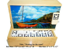 "On Sale !! Domino Set Double Nine ""Waiting for the Winds"" Oil painting on Top."