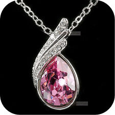 pendant necklace 18k white gold made with SWAROVSKI crystal tear drop