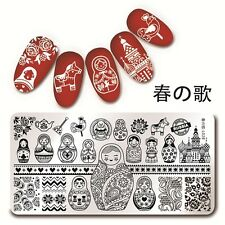 Nagel Stamping Schablone Nail Art Stempel Plate Russian Doll Harunouta L028