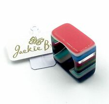"""NEW! from Brazil!  """"Licorice"""" Square Ring by Jackie Brazil - Mixed Colors Size 6"""
