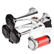 12V 150db Super Loud Triple Trumpet Air Horn Horns Car Truck Train Boat US