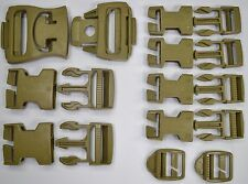 NEW 16 Piece Molle ILBE Buckle Repair Set Kit DCU Desert Tan Nexus Fastex Coyote