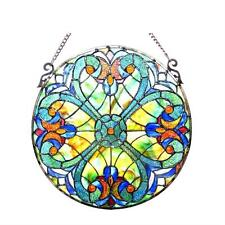"Tiffany Style Stained Glass Victorian Window Panel 20"" Diameter Handcrafted New"