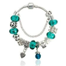 Silver Plated Green Glass Beads Bracelet Fashion Charms-18 cm