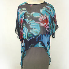 NEW NWT Cocoon House Les Nympheas Sheer 100% Silk Pointed Top Blouse Large / XL