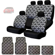 NEW COOL SKULL DESIGN FRONT AND REAR CAR SEAT COVERS FLOOR MATS SET FOR HONDA