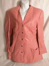 Vintage Michael Hoban North Beach Leather Motorcycle Jacket Lip stick Pink Sz L