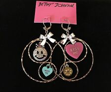 Betsey Johnson Candy Land Smiley Face Gypsy Hoop Earrings 885043697512 New $50
