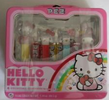 """Set of 4 Pez Dispensers, Hello Kitty, Collectible, In Lunchbox Type Tin, 7"""" Long"""