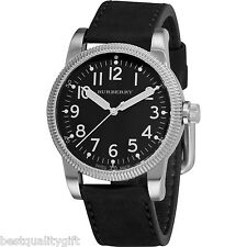NEW-BURBERRY MILITARY BLACK LEATHER BAND+SILVER TONE DIAL SWISS WATCH BU7805