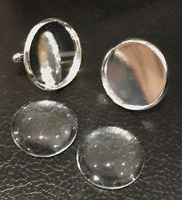 Gemelos De Plata Redonda 1 Pulgada 25mm Para Foto De Joyas, imágenes y Cristal Cabuchones