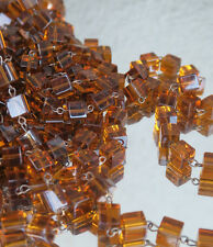 1FT glass beads prism chain strand part brass pin lamp macaroni Topaz Cognac