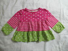 Girls Gymboree Size 3T Pink & Green HEART Long Sleeve Baby Doll Dress Valentines