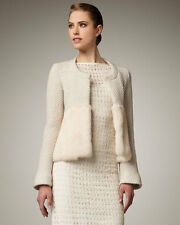 Runway Nanette Lepore Elysian Rabbit Fur-Sweep Jacket (Cream, Size 0) Retail$450