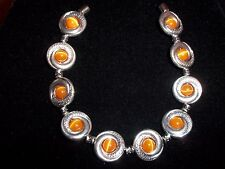 Tibetan SILVER Orange CATS EYE Bead Bracelet MAGNETIC Clasp A-14 Quality Jewelry