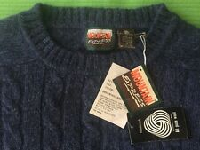 Large NWT Vintage 1980s SHETLAND WOOL CABLE KNIT SWEATER Midnight Blue MOUNTAIN