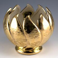 Vintage Savoy Fine China 5 Inch 24K Gold Decorated Bowl Vase Made In USA