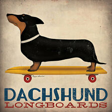 DACHSHUND SHORT SMOOTH HAIRED LONGBOARDS SKATEBOARDs Retro Advertising Poster
