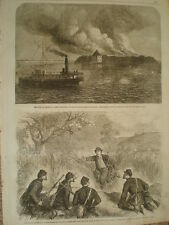 Guerra Civil estadounidense destrucción Fort ocracore Faro Isla impresión de Carolina del Norte 1861