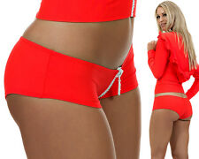 HOTPANTS STRASS ZIP SEXY ROT MADE IN EU BEACH DANCEWEAR