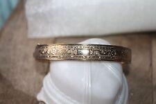 ORNATE Etched VICTORIAN Vintage 12k Gold Filled hinged BANGLE Bracelet