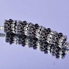 5Pcs White  Silver Filled Enamel Charms Beads DIY Bracelet Fashion Jewelry
