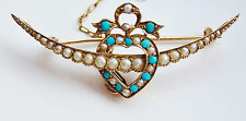 Antique Murrle Bennett 9ct Gold Turquoise & Pearl Crescent & Heart Brooch c1900