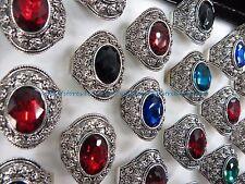 US SELLER - 12 rings large rhinestone marcasite boho retro jewelry wholesale