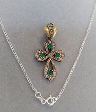 STERLING 925 SILVER HANDMADE JEWELRY EMERALD HOLY CROSS PANDANT NECKLACE
