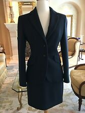 Moschino Couture ClassicNavy blue Wool skirt Suit Size 6 USA
