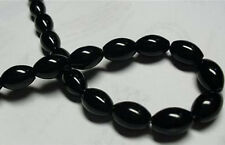 8x12mm Black Agate Onyx Gemstone Rice Loose Bead 15''