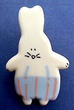 Easter PIN Baby Bunny RABBIT Boy in Blue Overalls Holiday Brooch Vintage 1980s