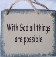 With God All Things Are Possible Wooden Mini Plaque