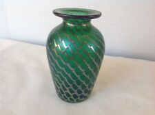 Signed Numbered 1984 STEVEN CORREIA ART GLASS IRIDESCENT Green Web VASE