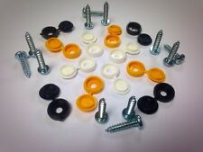6 x Registration Number Plate Clips Cap + Bolt Screws Yellow Black White Kit