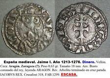 JAIME I. Año 1238/1276. Dinero Vellón. Ceca: Aragón. Zaragoza (?). Peso 0,63 gr.